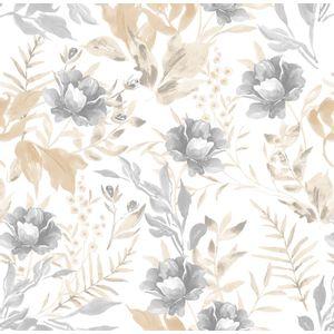 Papel-de-Parede-Floral-Aquarela-Bege-e-Cinza